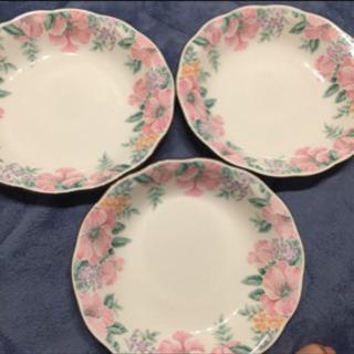 ナルミ 花柄 ピンク 3枚 食器 皿 おかず皿