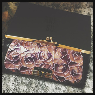 【ANNA SUI】長財布 箱付き パープル薔薇柄  Wallet
