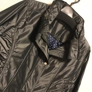 【新品】黒 ロング 11号 コート ドット M〜L 膝丈  長袖 上着 秋冬 - 佐世保市