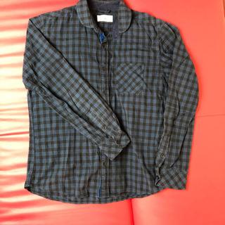 ギンガムチェックシャツ ブルー キズ汚れなし サイズL