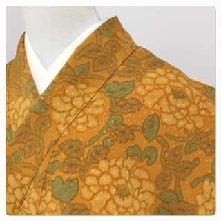 美品 特選 逸品 正絹 小紋  橙 華模様 身丈165 裄66 袷