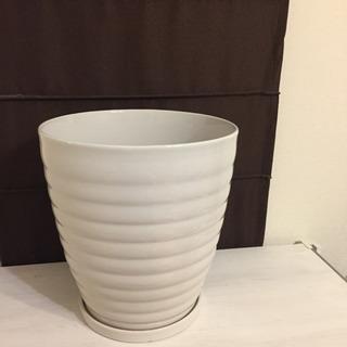 10号植木鉢★陶器製丸深型白★美品