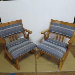 マルニ 木製 回転椅子 布張り 2脚セット 管理番号M80310