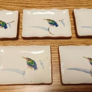 九谷 泰山 カワセミ柄 和皿 5枚セット 11cm位