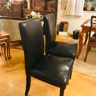 黒い本革椅子1個