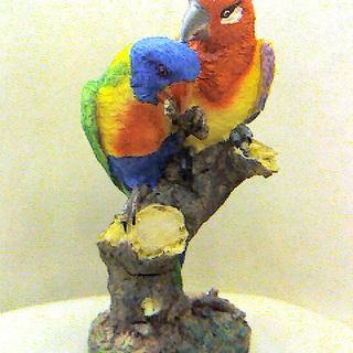 ツインパロット(鳥)の置物