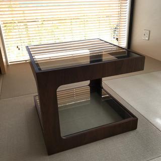 ガラス × 木製 スクエア サイド テーブル