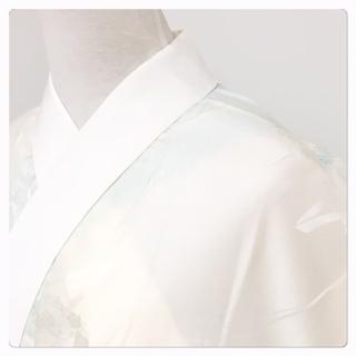 美品 特選 袷 長襦袢 水色 花模様 身丈129 裄65…