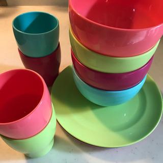 カラフル 平皿&深皿&コップ 4色セット