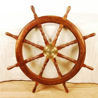 0768 チーク材 真鍮 木製 舵 舵輪 真鍮 操舵輪 ラット ...