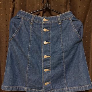 サイドボタン デニムスカート
