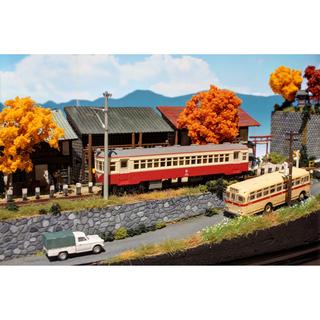 Nゲージ 「秋晴れの踏切風景」 ジオラマ 完成品 模型 ジオコレ