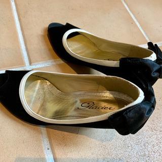 ◆モノトーン オープントゥリボンパンプス◆美品ですが、何度か履いてます