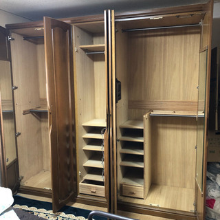 大容量 木製ワードローブ クローゼット大小セット - 家具