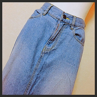 【Futier Land】デニムロングスカート 裾フリンジ US...