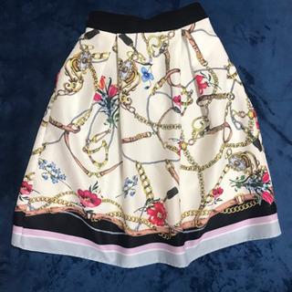 チェーン模様 スカート 白と紺の2枚セット