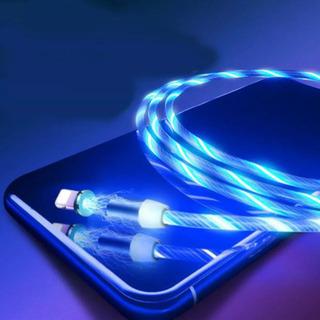 光るLED充電ケーブル マグネット式 片手で簡単充電