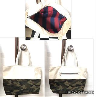 帆布×カモフラ柄  インナーストラップ トートバッグ