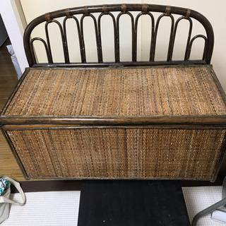 収納付き 籐木製 チェアー