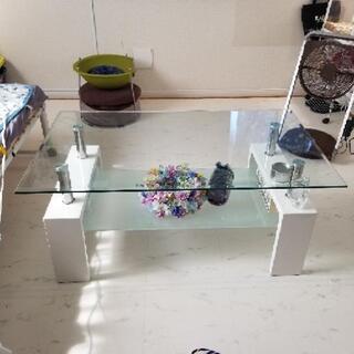 ガラス ローテーブル ホワイト