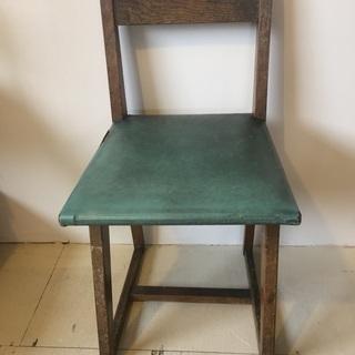 古家具 椅子 イス チェア 木製 家具 緑 オブジェ 中古品