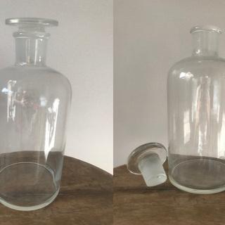 大きな蓋付き薬瓶 ガラス瓶 オブジェに