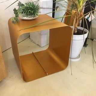 サイドテーブル ナイトテーブル 銅仕上げ風 中古品