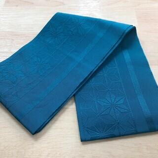 半幅帯 正絹? 青緑 ブルーグリーン リサイクル着物 約180c...