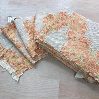絞り 反物 正絹 オレンジ 橙 黄 白 MM82