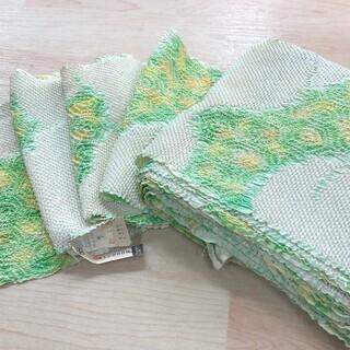 絞り 反物 正絹 薄緑 黄 白 ハンドメイド リサイクル  MM83