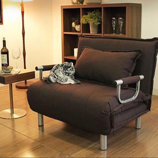 【美品】ソファーベッド 茶色 リクライニング式