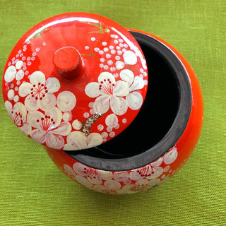 【新品 未使用】ベトナム 漆塗り 小物入れ 漆器 花柄 うめ ア...