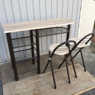 カウンターテーブル  サイドテーブル イスセット