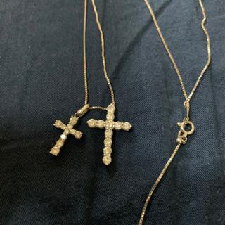 18金WGクロスダイヤモンドネックレス