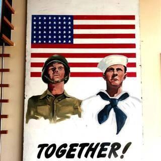 ヴィンテージ 巨大227cm×122cm 第二次世界大戦 兵隊募...