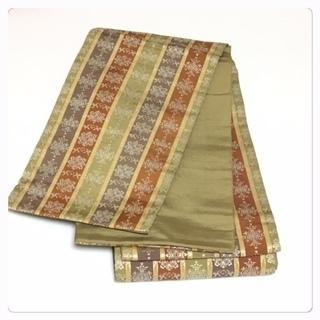 特選 本場筑前 博多帯 半幅 正絹 黄土色 西陣 縞織り小袋帯