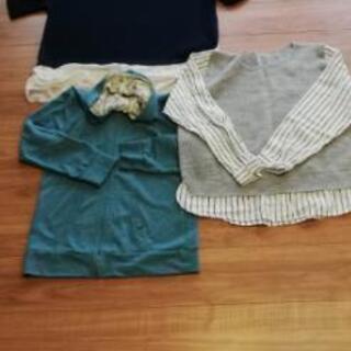LL~4L 3つセット 紺半袖ニット グレー長袖シャツニット 緑...