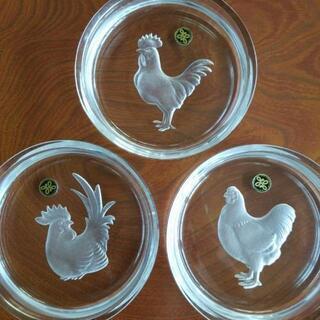 【HOYA 干支皿(酉) 3枚セット 未使用】鳥 鶏 とり トリ...