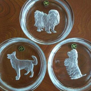 【HOYA 干支皿(戌) 3枚セット 未使用】犬 いぬ 保谷クリスタル