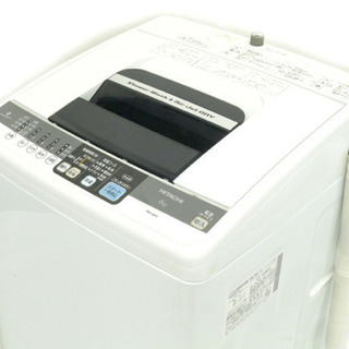 美品 日立 6.0kg 全自動洗濯機(ピュアホワイト)HITACHI