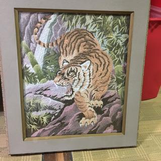 虎の刺繍絵