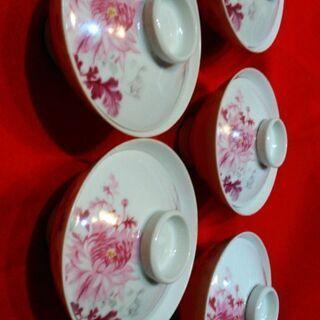 オールドノリタケ 蓋付茶碗 5つ