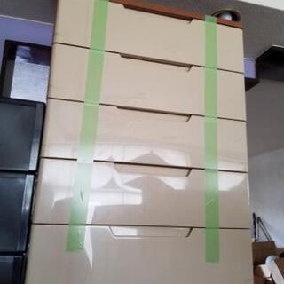 中古/木製天板の5段収納ケース 衣類収納ケース