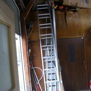 アルミ製 2連はしご 梯子 ロープ式 全長5.9m 縮長3.5m...
