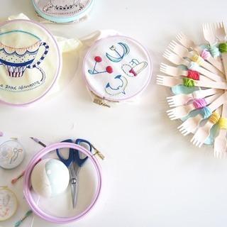 西麻布刺繍カフェ 〜自由にステッチ、刺繍のハンカチ作り〜