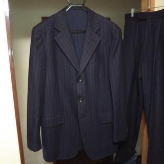 バーバリー紳士スーツ (紺/グレーストライプ)