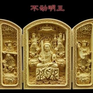 木彫り 不動明王の置物 仏像 風水 彫刻