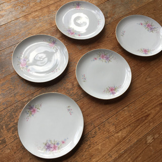 花柄 平皿 5枚