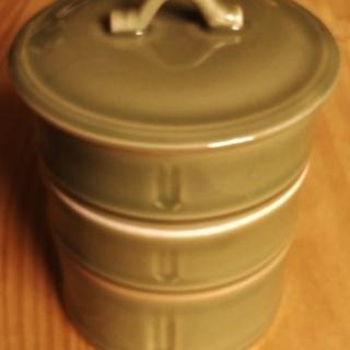 竹の陶器 3段 小物入れ