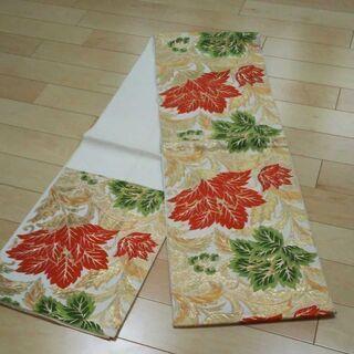 袋帯 六通 正絹 朱 緑 白